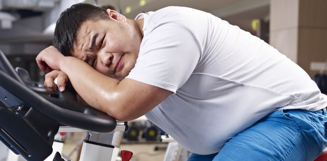 Fat men on treadmill