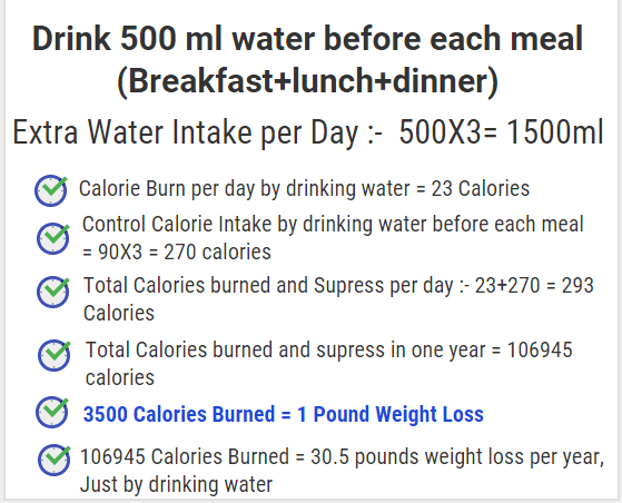 water weight loss calculations