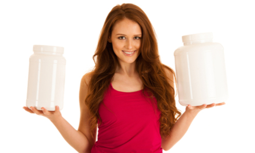 women muscle protein powder